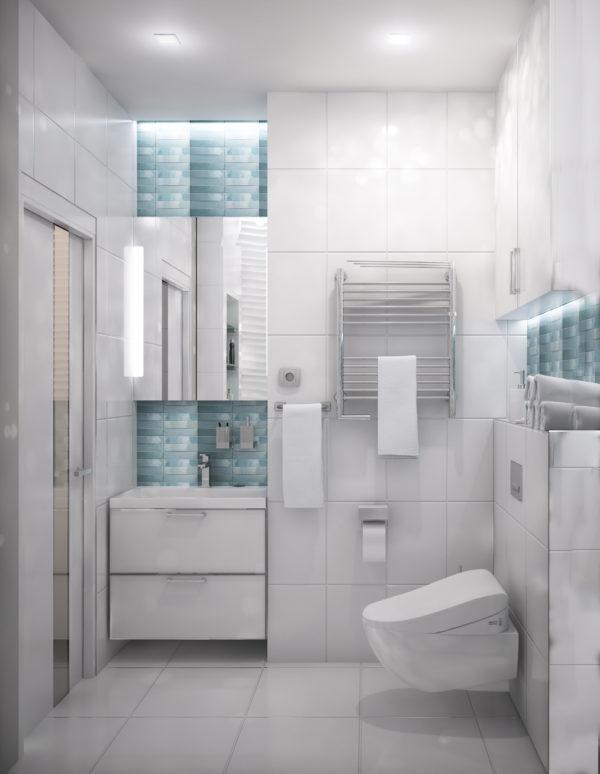 фото белой с голубым ванной